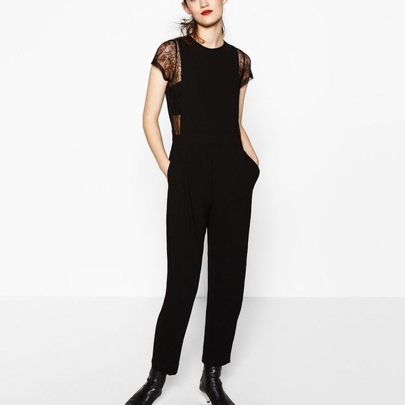 329a40df614 NWT Zara Contrast Lace Jumpsuit in Size M